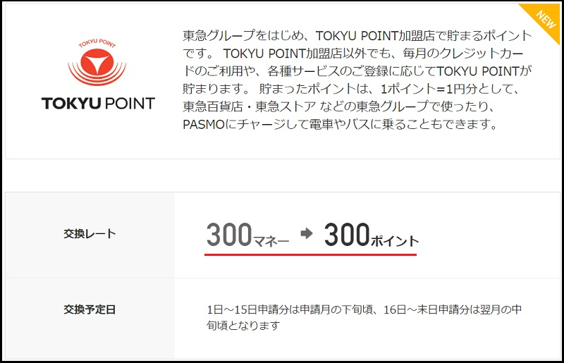 ドットマネーをTOKYU POINTに交換